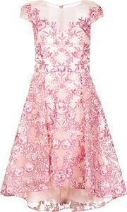 Marchesa Notte , Embroidered Flower Dress Women Nylon 14, Women's, Pinkpurple