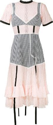 Sandy Liang , Accord Gingham And Lace Dress Women Cottonspandexelastane 36, Women's, Pinkpurple