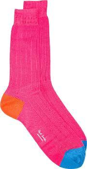 Paul Smith Red Ear , Ribbed Socks Men Cottonpolyamide One Size, Pinkpurple