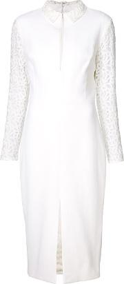 Christian Siriano , Lace Sleeve Keyhole Dress Women Cotton 4