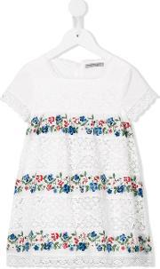 Ermanno Scervino Junior , Floral Embroidery Dress Kids Cottonpolyester 4 Yrs, Toddler Girl's, White