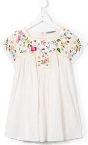 Ermanno Scervino Junior , Floral Embroidery Dress Kids Rayon 6 Yrs