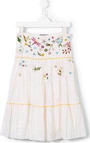 Ermanno Scervino Junior , Floral Embroidery Skirt Kids Rayon 4 Yrs, Toddler Girl's, White