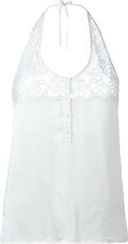 Faith Connexion , Satin Lace Top Women Silkcottonpolyamide M, Women's, White