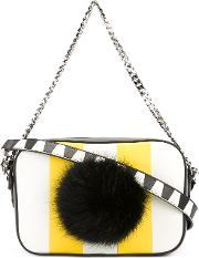Les Petits Joueurs , Striped Pompom Crossbody Bag Women Leather One Size, Women's, White