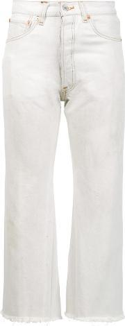 Redone , Redone High Rise Cropped Jeans Women Cotton 25, Women's, White