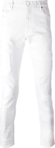 Road To Awe , Distressed Slim Fit Jeans Men Cottonpolyesterspandexelastane 32, White
