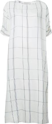 Studio Nicholson , Checked Dress Women Linenflaxviscose 0, Women's, White