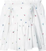 Suno , Floral Embroidered Ruched Off Shoulder Top Women Cotton 0, Women's, White