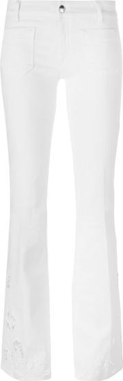 The Seafarer , Stretch Flared Jeans Women Cottonpolyesterspandexelastane 27, Women's, White