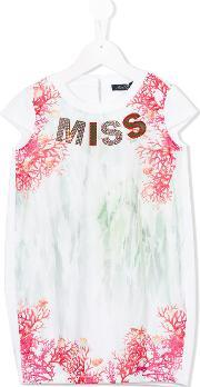Miss Blumarine , Miss Coral Print Dress Kids Cottonpolyesterspandexelastane 10 Yrs, Girl's, White