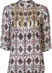 Figue , 'jasmine' Ikat Print Embellished Tunic Top