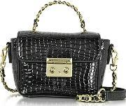 Roccobarocco , Mini Croco Embossed Eco Leather Shoulder Bag