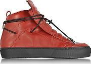 Ylati ,  Ulisse Red Leather High Top Sneaker