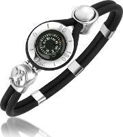 Forzieri , Compass Stainless Steel And Rubber Bracelet