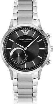 Emporio Armani , Ea Connected Satin Stainless Steel Hybrid Men's Smartwatch