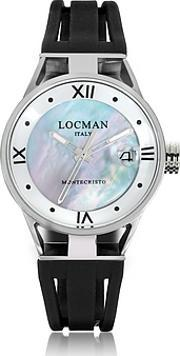 Locman ,  Montecristo Stainless Steel And Titanium Mother Of Pearl Wsilicone Strap Women's Watch