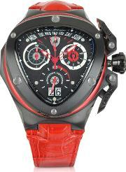 Tonino Lamborghini , Spyder - Red Leather Chronograph Watch