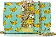 Gedebe ,  Clicky Azure Snake Leather Banana Clutch