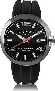 Locman ,  One Automatico Black Pvd Stainless Steel Men's Watch Wleather And Silicone Band Set
