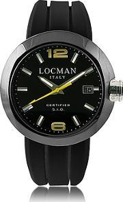 Locman ,  One Black Pvd Stainless Steel Chronograph Men's Watch Wleather And Silicone Band Set