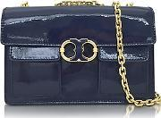 Tory Burch ,  Gemini Link Royal Navy Patent Leather Chain Shoulder Bag