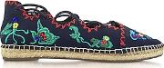 Tory Burch ,  Sonoma Tory Navy Embroidered Ghillie Canvas Flat Espadrilles