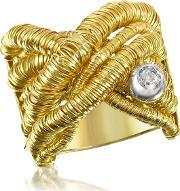 Orlando Orlandini , Capriccio Diamond 18k Yellow Gold Crossover Ring