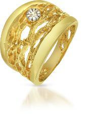 Orlando Orlandini , Diamond Open Work 18k Yellow Gold Band Ring