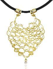 Orlando Orlandini , Scintille Diamond Drop 18k Yellow Gold Net Necklace