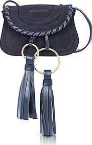 See By Chlo ,  Polly Ultramarine Suede & Leather Mini Crossbody Bag Wtassels