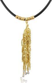 Orlando Orlandini , Flirt Diamond Drops 18k Yellow Gold Thread Pendant W Rubber Lace