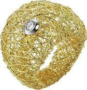 Orlando Orlandini , Arianna 18k Gold Wide Ring W Round Diamond