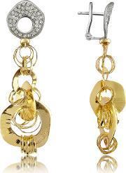 Orlando Orlandini , Fashion Diamond 18k Two Tone Gold Drop Earrings