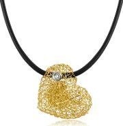 Orlando Orlandini , Arianna Small Diamond Heart Pendant W Rubber Lace