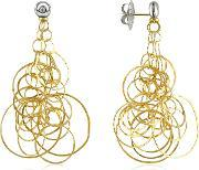 Orlando Orlandini , Scintille Diamond 18k Gold Drop Earrings