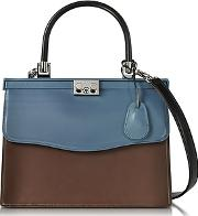 Rodo ,  Black Blue And Chocolate Nappa Leather Top Handle Paris Bag