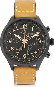 Timex , Fly Back Chrono Black Stainless Steel Case And Tan Leather Strap Men's Watch
