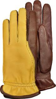 Pineider , Men S Two Tone Deerskin Leather Gloves W Cashmere Lining