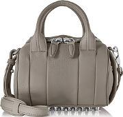 Alexander Wang ,  Mini Rockie Matte Mink Gray Pebbled Leather Satchel