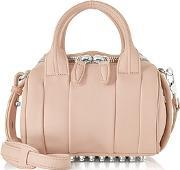Alexander Wang ,  Mini Rockie Pale Pink Pebbled Leather Satchel