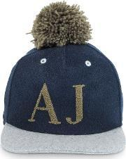 Armani Jeans , Blue And Gray Wool Blend Pom Pom Baseball Hat