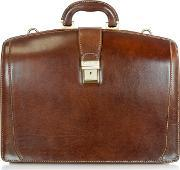 Chiarugi , Brown Leather Buckled Diplomatic Briefcase