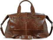 Chiarugi , Large Brown Italian Leather Carry All Travel Bag