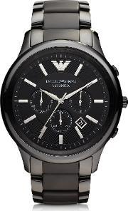Emporio Armani , Renato Black Ceramic & Stainless Steel Men's Watch