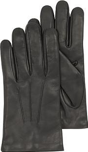 Forzieri , Black Leather Handmade Men's Gloves Wwool Lining