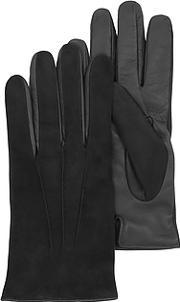 Forzieri ,  Black Touch Screen Leather Men's Gloves