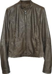 Forzieri , Brown Leather Band Collar Motorcycle Jacket