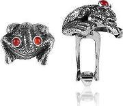 Forzieri Exclusives , Sterling Silver And Cornelian Frog Cufflinks