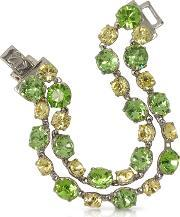 Forzieri , Green And Pale Yellow Crystal Bracelet
